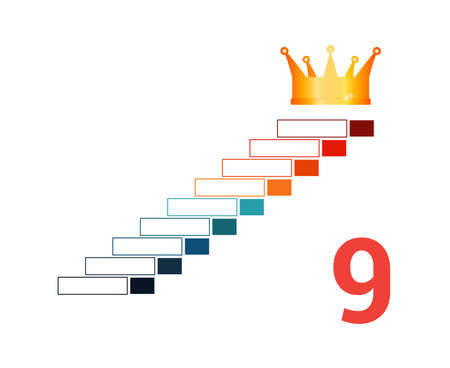 Infographic template  for 9 positions. Golden corona and steps.