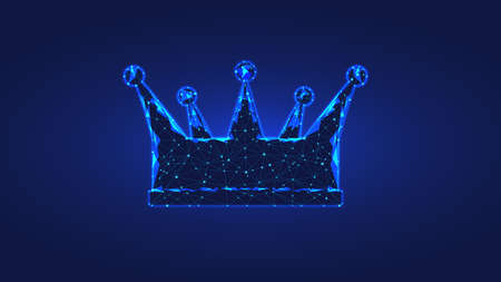 Crown from triangles and luminous points. Concept of luxury, power and wealth. Background dark blue