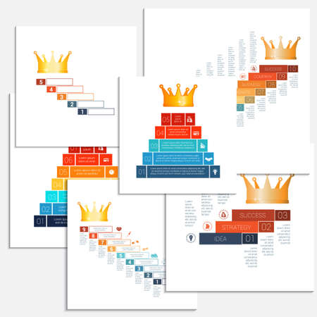 Set templates Infographics, crown, for 3 4 5 6 7 8 9 10 positions possible to use for workflow, banner, diagram, web design, timeline, area chart, number options