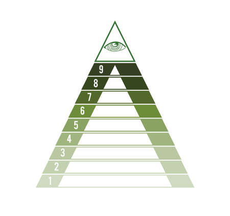 Pyramid for 9 text areas. Eye of Providence. Ð¡oncept of successful financial activities. Green tint. Business process infographic template. Archivio Fotografico