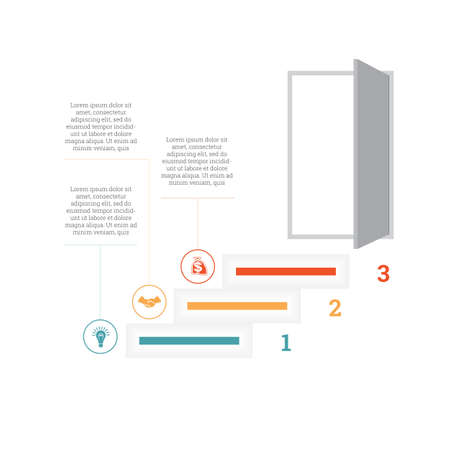 Ladder of success, leading up to an open door. Successful business strategy concept in infographics. Universal template 3 position