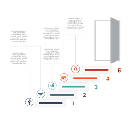 Ladder of success, leading up to an open door. Successful business strategy concept in infographics. Universal template 5 position