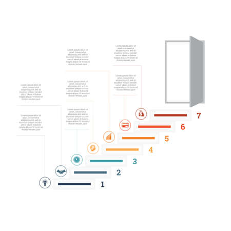 Ladder of success, leading up to an open door. Successful business strategy concept in infographics. Universal template 7 position