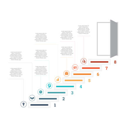 Ladder of success, leading up to an open door. Successful business strategy concept in infographics. Universal template 8 position