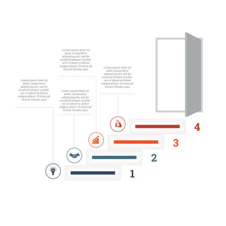 Ladder of success, leading up to an open door. Successful business strategy concept in infographics. Universal template 4 position
