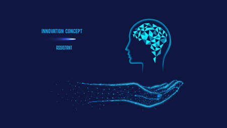 Innovation concept or human thinking, neural networks, artificial intelligence, innovative technology, and communication concept. Brain in hand. Polygonal illustration