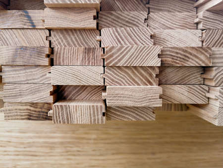 ash wood planks and parts in the shop