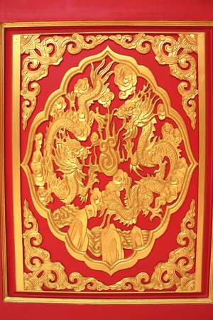 Art china painting on wall in temple Stock Photo - 16865715
