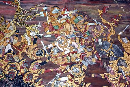 Art thai painting on wall in temple Stock Photo - 17436785