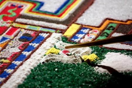 Tibet mandala tilt from coloured sand