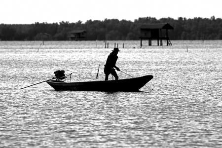 black white kayak: Fisherman Boat silhouette Monochrome