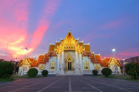 Wat Benchamabophit The Marble Temple at sunset Bangkok, Thailand