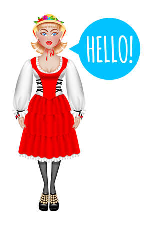 hi hat: Beautiful english woman in traditional costume saying hello. Isolated on the white background.