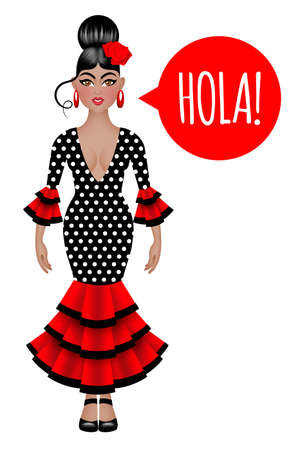 spanish language: Beautiful spanish woman in traditional flamenco dress saying hello in spanish language. Isolated on the white background. Stock Photo