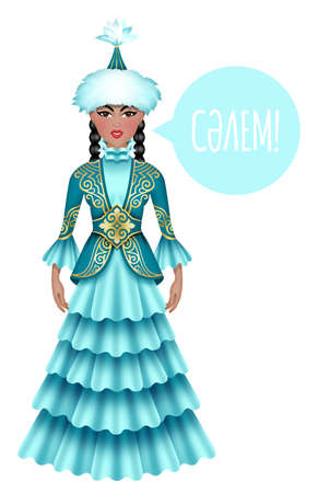 national costume: Beautiful kazakh woman in national costume saying hello in kazakh language. Isolated on the white background.