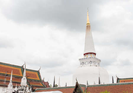 thai culture: Pagodas in Wat Phra Mahathat temple, Nakhon Si Thammarat province, Thailand. Stock Photo