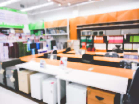 Blur of Defocus image of Office supply shelf in store Фото со стока - 83591098