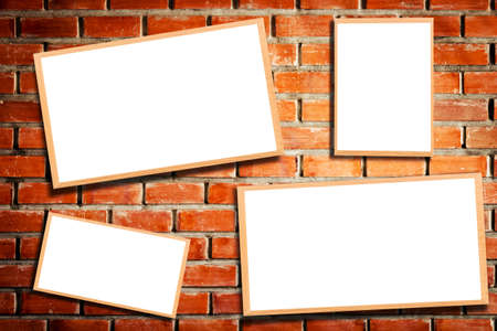 brand identity: Mock up blank wooden picture frame on brick wall