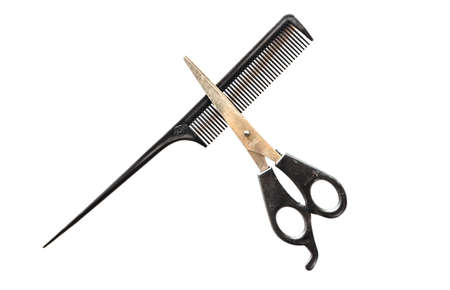 Comb and Scissors. Set Barber. isolated on white Background Stock Photo