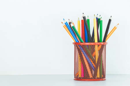 ink pot: Stand of colorful pencils