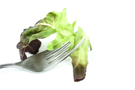 Fork with corn salad leaves  isolated on white background