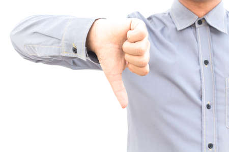 Business man showing thumbs down sign isolated on white background Stock Photo