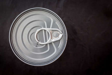 Aluminum can on black background Stock Photo