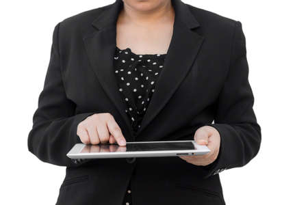 Business woman holding tablet Stock Photo