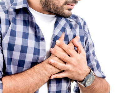 Man suffering from chest pain - heart attack