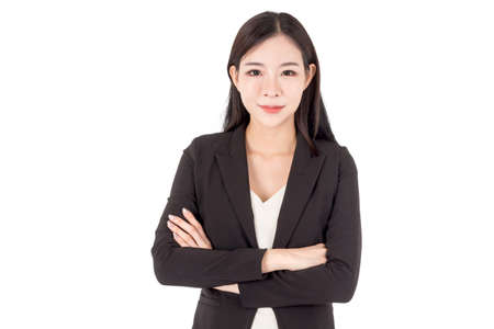 Portrait of business woman isolated on white background Stock Photo