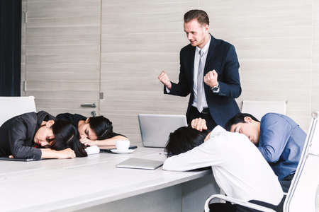 Group of business people sleeping at the meeting Stock Photo - 105942102