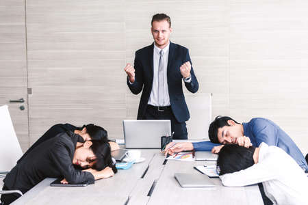 Group of business people sleeping at the meeting Stockfoto