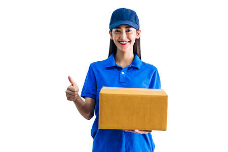 Delivery woman holding cardboard box isolated on white background Banco de Imagens