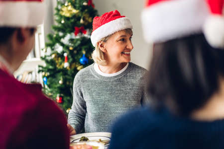 Portrait of happy big family celebrating in santa hats having fun and lunch together enjoying spending time together in christmas time at home Zdjęcie Seryjne