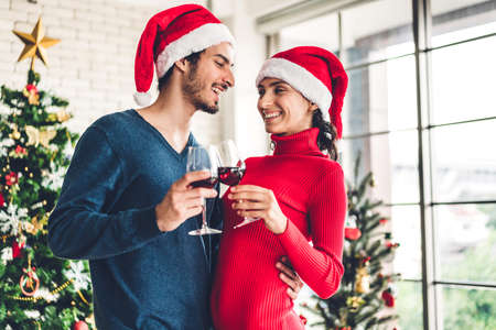 Romantic sweet couple in santa hats having fun and drinking wine glasses while celebrating new year eve and enjoying spending time together in christmas time at home Zdjęcie Seryjne