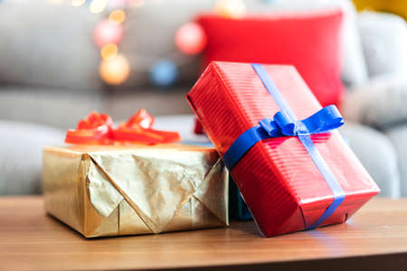 Gift box with christmas decoration at home