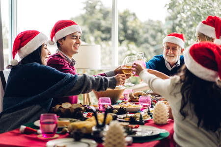 Portrait of happy big family celebrating santa hats having fun and lunch together,drinking red wine and clinking glasses enjoying spending time together in christmas time at home Zdjęcie Seryjne