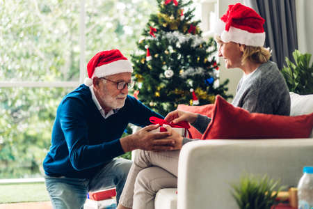 Romantic sweet senior couple in santa hats having fun and smiling while celebrating new year eve and enjoying spending time together.Senior man giving gift box surprise to wife in christmas time at home