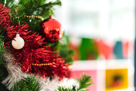 Christmas tree with christmas decoration background at home