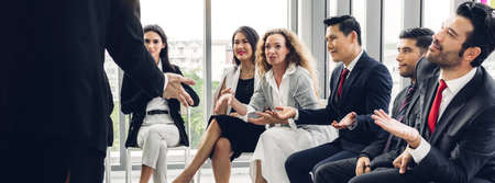 Group of professional business meeting and discussing strategy with new startup project.Creative business people presentation and planning with document report in modern workloft.Teamwork concept