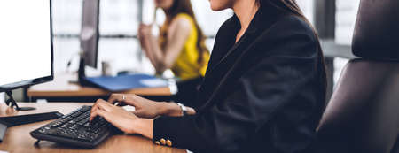 Businesswoman working with desktop computer.creative business people working and management at modern office