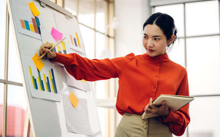 Casual business woman planning and brainstorm writing over the project with stickers note on white board at modern office