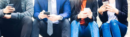 Group of business people use technology together of smartphone Foto de archivo