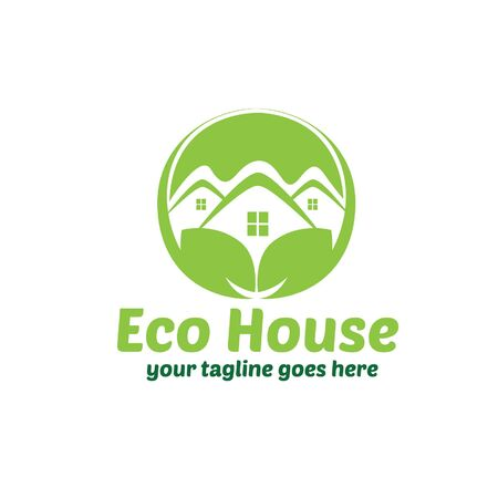 real estate house: Eco House Template Illustration