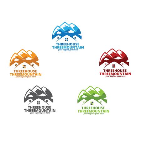 house logo: Three House Three Mountains Logo Design Illustration
