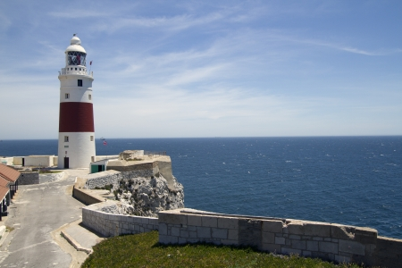 europa: Pretty Lighthouse at Europa Point in Gibralter Stock Photo