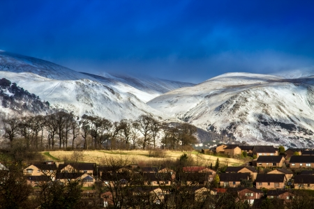 Snow capped hills in Clackmannanshire Central Scotland Stock Photo