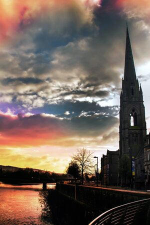 tay: Beautiful sunset over Scottish church in Perth Scotland