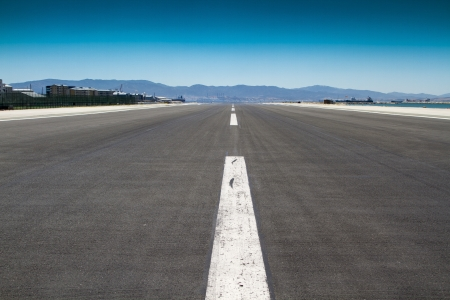 shot of the runway at Gibraltar Airport photo