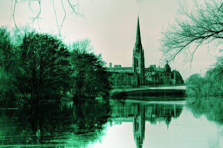 tay: Church reflection on the river Tay in Scotland Stock Photo